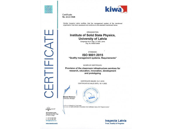 ISSP UL cleanroom is awarded iso 9001:2015 quality system certificate